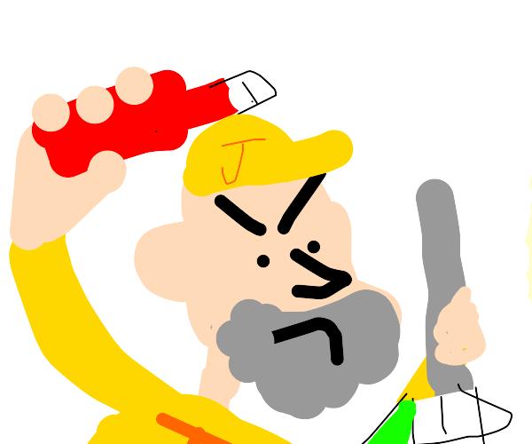 janitor holding ketchup