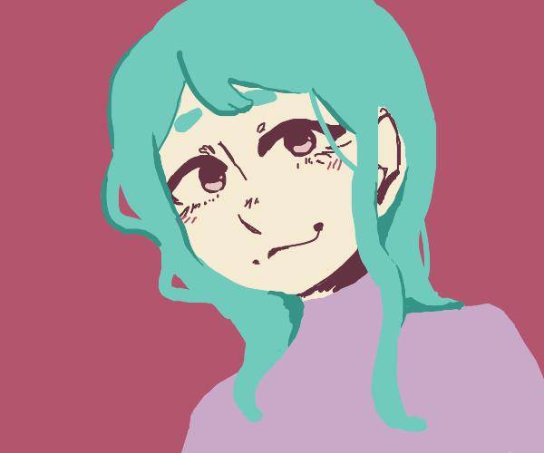 Teal hair anime girl