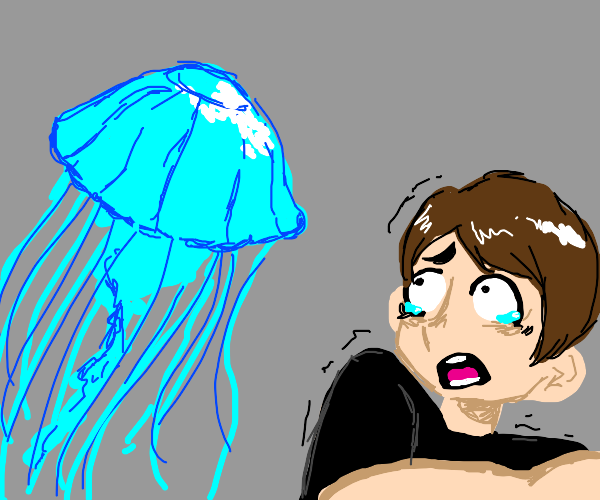 Guy scared of jellyfish