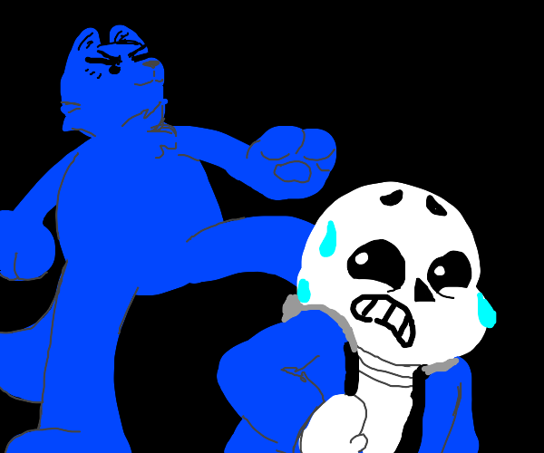 Sans scared of giant blue furry
