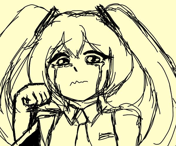 sad blue haired anime girl :(