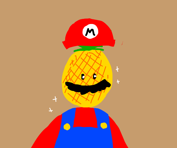 Mario but his head is a pineapple.