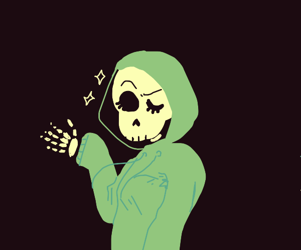 Winking Skeleton in a Hoodie/Parka