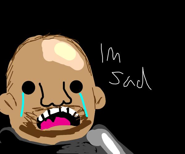 Rock man is sad