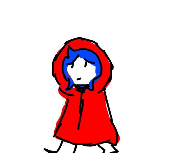 Little red riding hood with blue hair