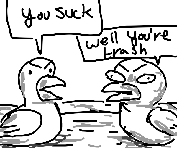 Two ducks insulting each other