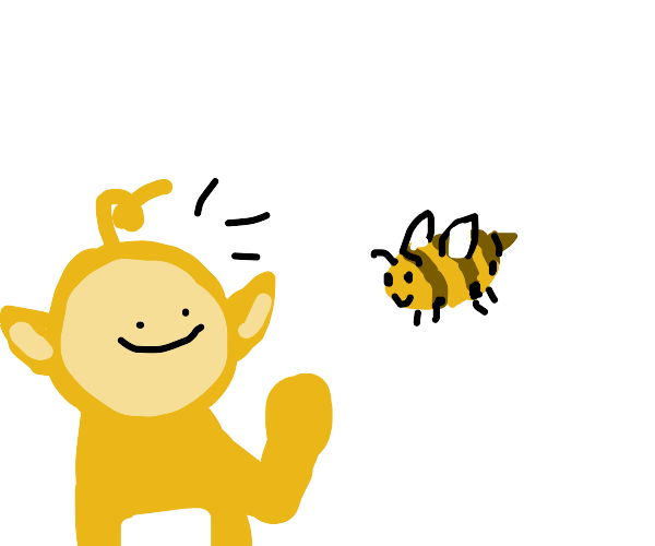 Teletubby finds a bee