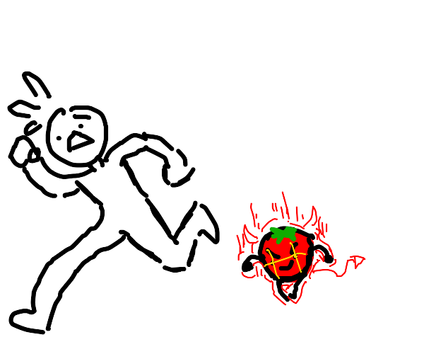 person chased by evil tomato
