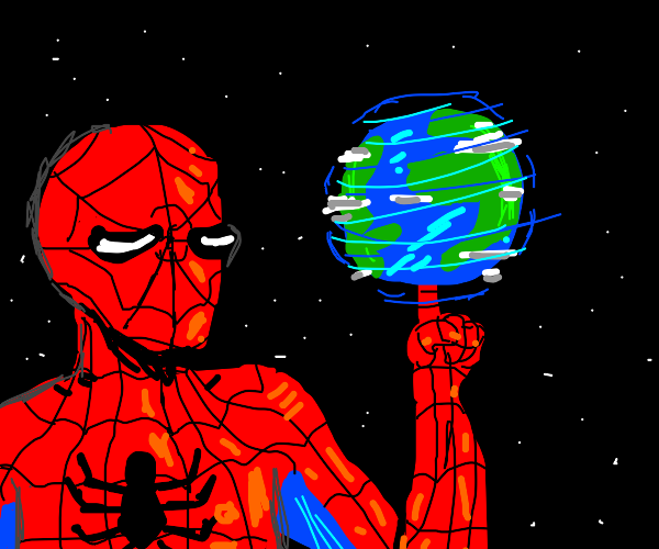 Colossal Spider-Man uses earth as basketball