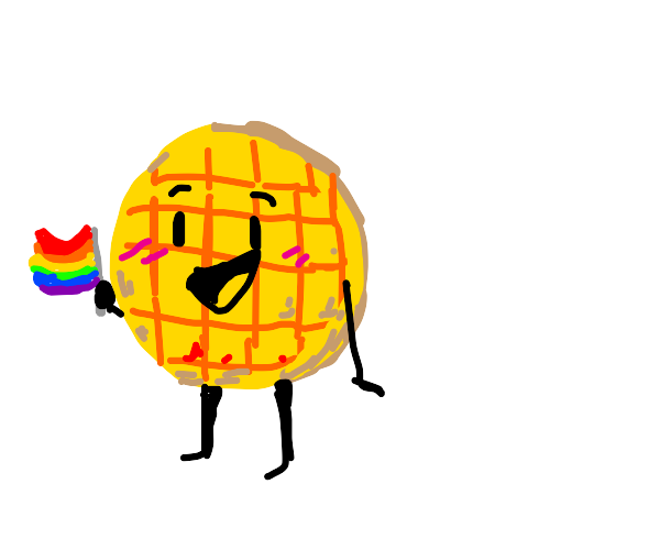 waffle holding a pride flag