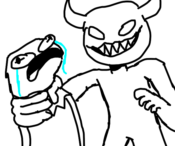 the devil strangles a small puppet