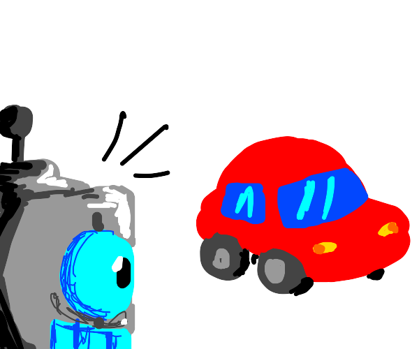 Robot is very surprised to see a red car