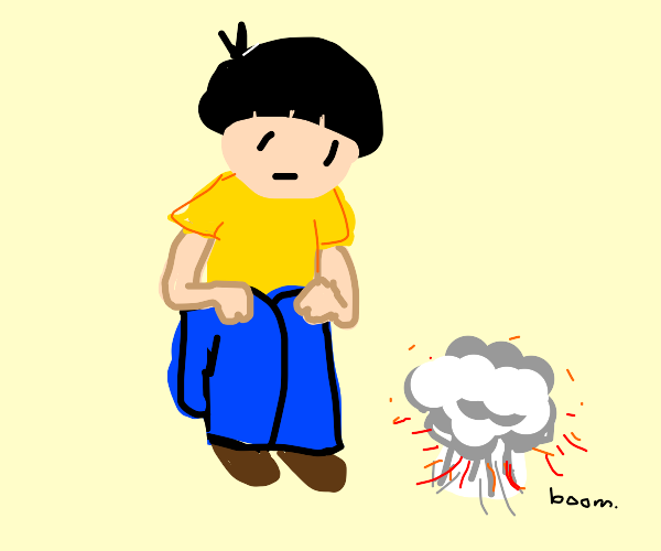A guy witnessing an explosion