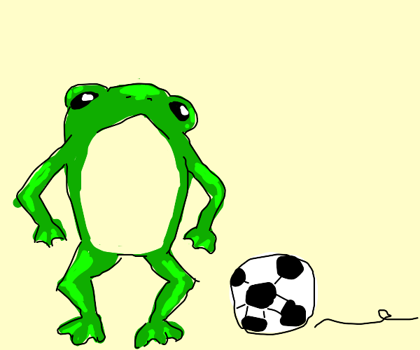 frog playing soccer