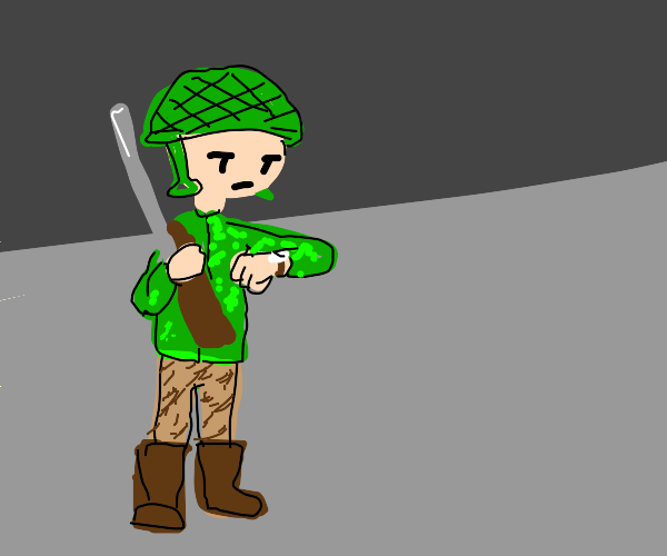 soldier waiting