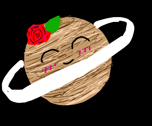 saturn with a rose on top of its head