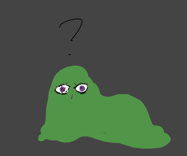Green sludge with realistic face is confused