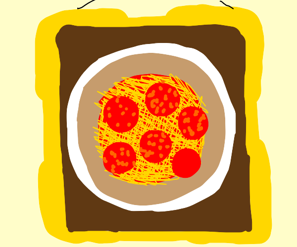 A hanging painting of pizza