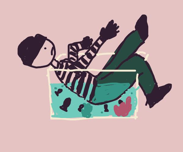 Burglar fell into the fish tank...