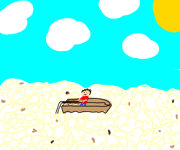 man fishing in popcorn sea