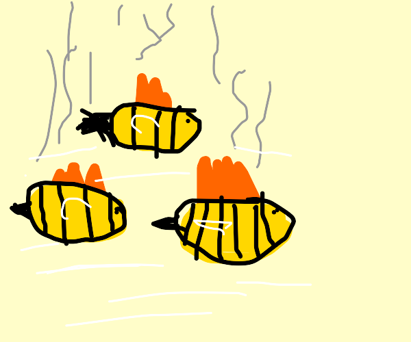 Bees casually flying and burning