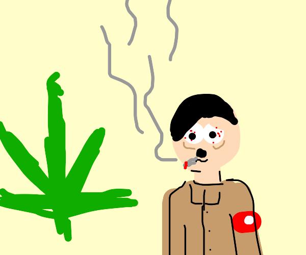 Hitler smoking looking at marajuana