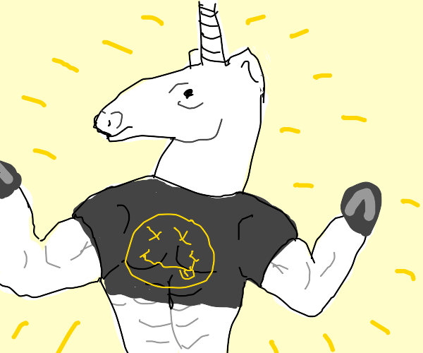 unicorn with a ripped bod likes nirvana