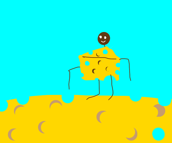a man made of cheese in a world of cheese