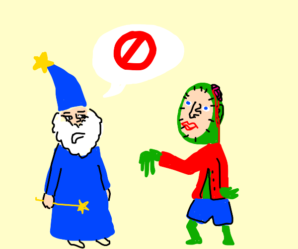 Wizard doesn't like zombie's facial surgery