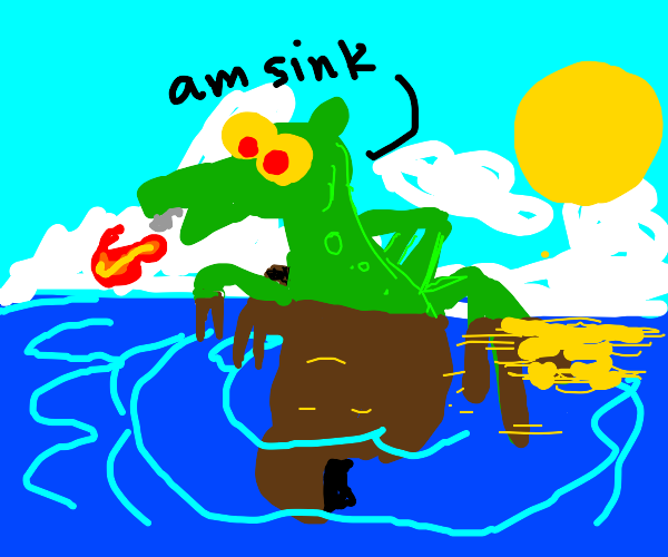Dragon sinking into a River