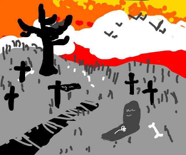 Black/white graveyard with clouds overhead