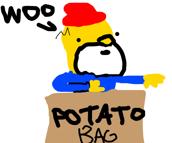 homer simpson (gnoblin version) in potato bag