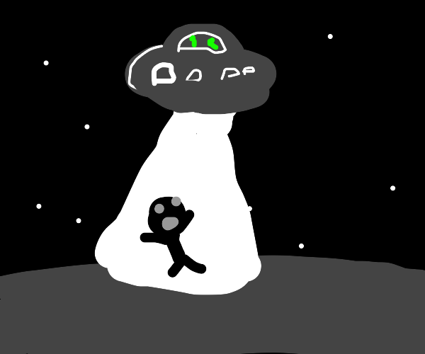 man being abducted by aliens