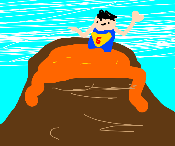 Superhero in a Volcano