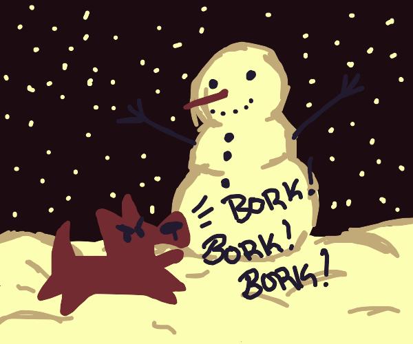 borks at snowman