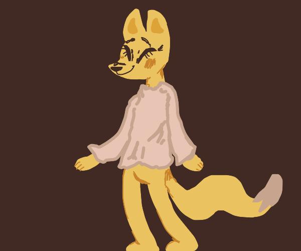 cute furry fox  in  blouse