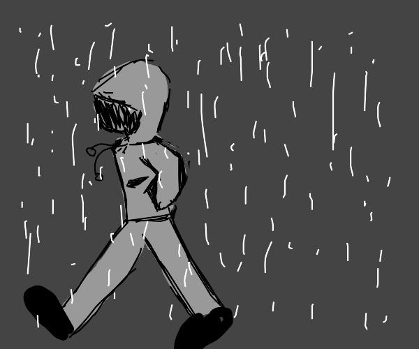 Disgruntled man in the rain