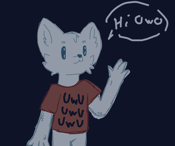 White furry with uwu shirt
