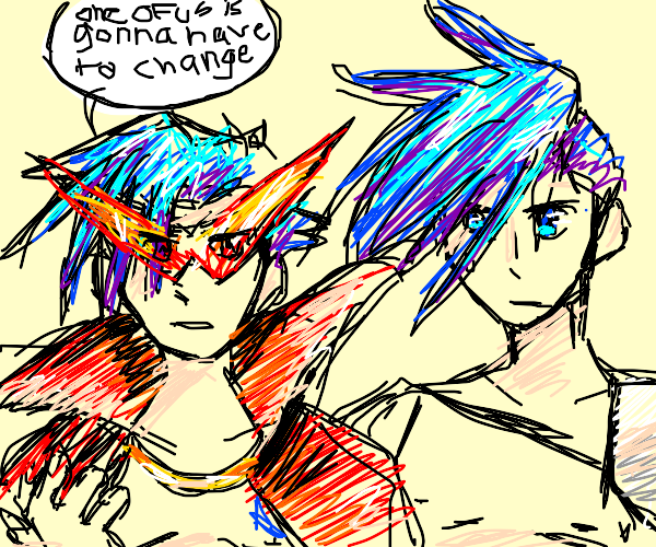 Two anime guys with spiky hair