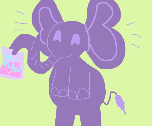 purple elephant offers you marshmallows
