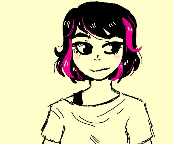 Dark Haired Girl w/ Pink Streaks (Anime Char?