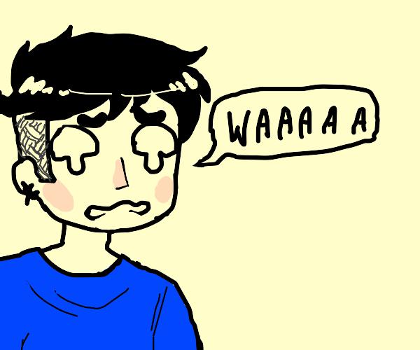 blue shirt man sad