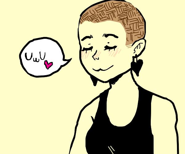 """bald anime girl says """"UwU"""""""