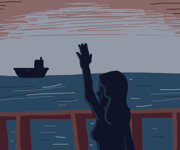 Woman waves goodbye as her ship sails away