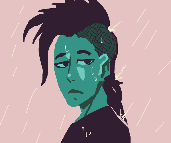 Blue guy with Mohawk in the rain
