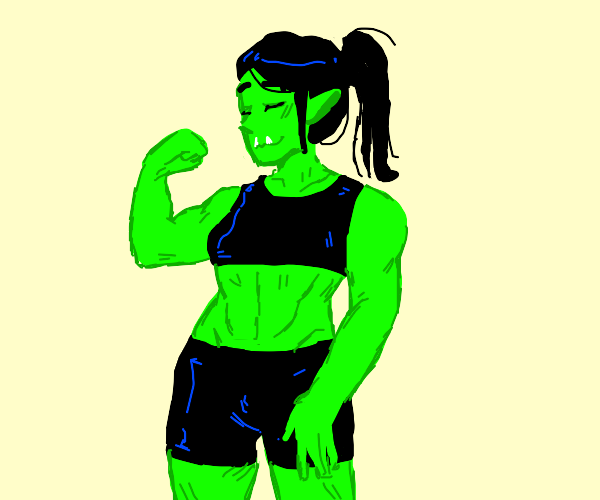 Muscle girl outline