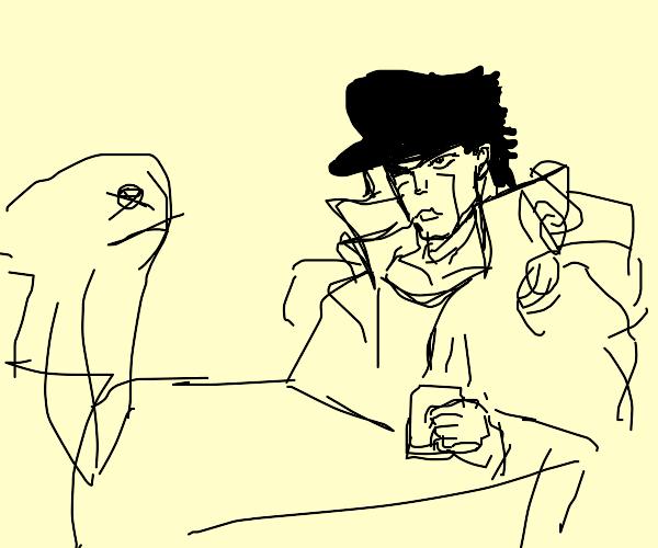 jotaro at a cafe with a fish