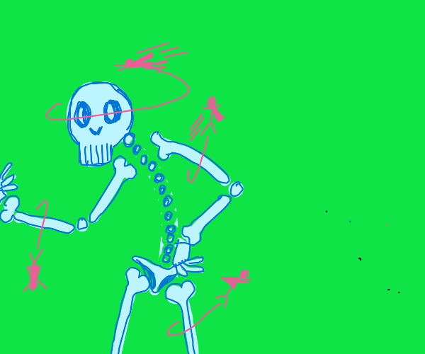 purple people flying on a skeleton