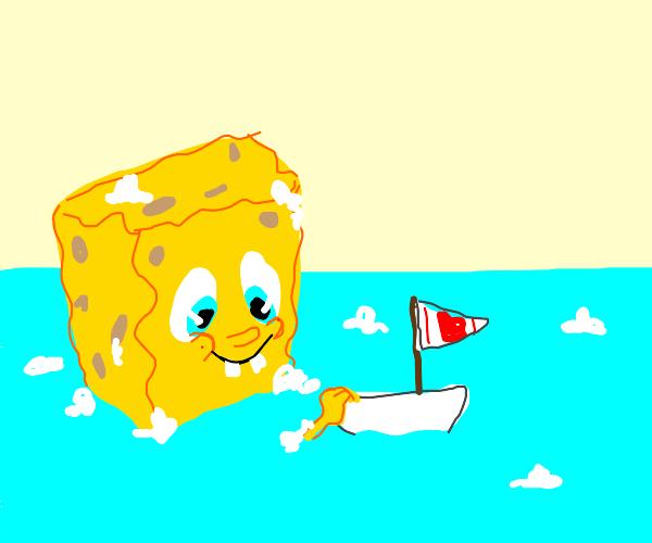 Spongebob bathes with a boy