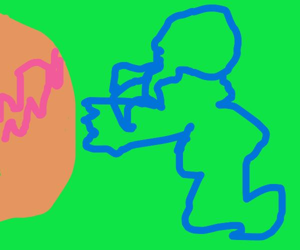 Ctulhu reaches for an orange planet